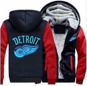 2018 Detroit asas vermelhas Camisola Velo Quente Engrossar Jaqueta Casaco Com Zíper Hoodies Moletons Jaqueta Up-to-date