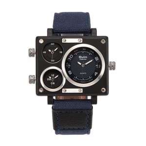 OULM wengle New Men movement Casual Three eyes Dial world time canvas Watch band Quartz watch