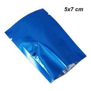 200 Stücke Lot 5x7 cm Blau Open Top Aluminiumfolie Vakuum Heißsiegel Lebensmittel Lagerung verpackungsbeutel für Snack Getrocknete Nüsse Mylar Folie Heißsiegelbeutel