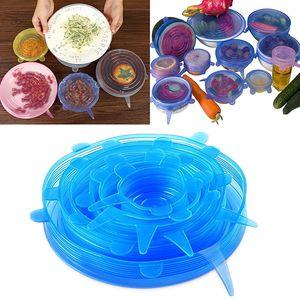 Tapas de silicona estirar cubierta de alimentos frescos Wrap Seal Tapa cubierta para ollas de tazón sartenes taza herramientas de cocina accesorios WX9-644