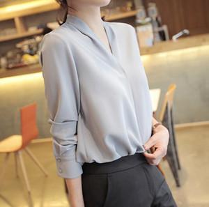 İlkbahar Sonbahar kadın Şifon Bluz V Boyun İnce Tops Lady OL Gömlek Uzun Kollu Bluzlar C3390