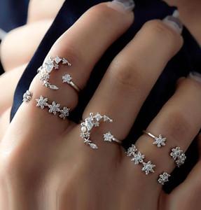Conjuntos de anillos de bodas conjunto de anillos de boda nuevos Hollow Moon Star anillos de diamante 5pcs un conjunto