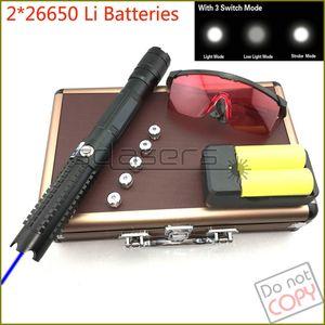 SDLasers Güçlü SD821 Ayarlanabilir Odak 450nm Mavi Lazer Pointer Lazer Kalem 2 * 26650 Piller Ile Görünür Işın + Şarj + Güvenlik Gözlükleri