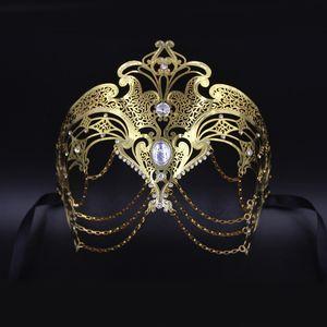 New Design Metall-Laser-Cut Silber Gold Hochzeit Maske Frauen Kettenkostüm Venetian Filigree Schwarz Cosplay Maskerade Maske