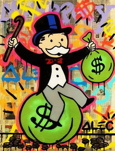 Pintado a mano HD Print Alec Monopoly Graffiti Pop street Art Pintura al óleo Money Bag on Canvas office Wall art culture Multi Sizes g284