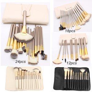 Conjunto de cepillos de maquillaje profesional 12 18 24 PCS Blanco Blanco Eyeshadow Blush Labio de labio Maquillones de maquillaje completo Kit con bolsa de cuero