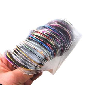 Все для Ногтя 30 Шт. Полоски Лента Линия Стикер Украшения Искусства Ногтя DIY Наклейки Для Ногтей Mix Color Rolls
