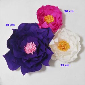 Dev Krep Kağıt Çiçekler Yapay Çiçekler Flores Artificiale 3 ADET Düğün Olay Zemin Bebek Kreş Duş Için