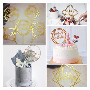 컵 케익 케이크 토퍼 블랙 골드 컬러 생일 축하 케이크 플래그 가족 생일 파티 베이킹 장식 용품