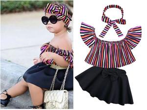 Yaz Moda Kız Giyim Bebek 1-6y Çocuklar Kapalı Omuz Kısa Kollu Gömlek + Etek Elbise + Hairband Kız Elbise 3PCS ayarlar / set