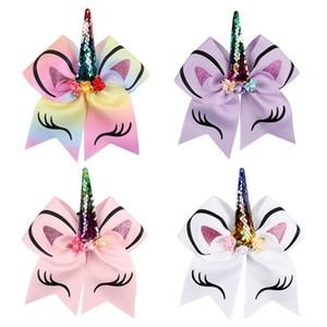 8inch doratura Cartoon Unicorn bambini anelli dei capelli di Bowknot Hairband per le donne Jojo Siwa archi Ornament 5 8dza W