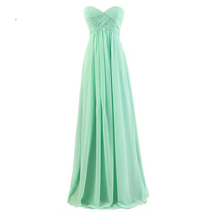 Discount Bridesmaid Gowns Sweetheart Sleeveless A-Line Mint Green Red Organza Navy Blue Gray Coral Chiffon Bridesmaid Dresses