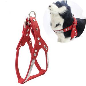 Arnês e coleira de couro macio Dog Set Rhinestone Puppet Vest Com Crystal Bone Pendant Para Small Medium Pets