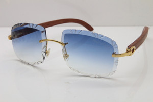 Livraison gratuite unisexe T8200762 Rimless SunGlasses bois Lunettes de soleil lentilles gros Sculpté femmes Vintage Lunettes de soleil limitées Recadrage Objectif Nouveau