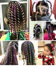 6 Chicas de color Twist Hair Tool DIY Accesorios para el cabello con estilo con cuentas Multicolor niños moda rizado cinturón de pelo tejido banda 20 unids /