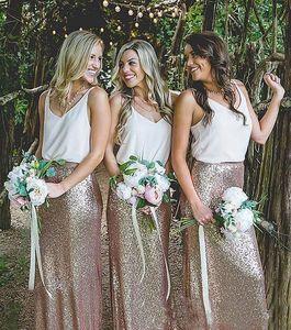 2018 Sequins Bridesmaid Dresses 로즈 골드 V 넥 웨딩 게스트 드레스 백리스 커스텀 메이드 파티 드레스 파티