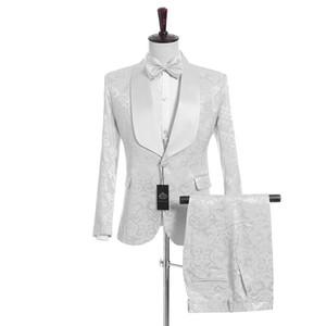 Yakışıklı Groomsmen Beyaz Desen Damat Smokin Şal Saten Yaka Erkekler Yan Vent Suits Düğün / Balo İyi Adam (Ceket + Pantolon + Yelek + Kravat) K950