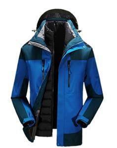 Al aire libre chaqueta de abajo chaqueta de abajo al aire libre de los hombres de tres piezas a prueba de viento cálido chaqueta invierno engrosamiento frío traje de nieve m-5l
