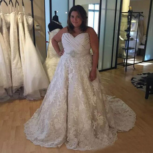 Gorgeous Plus Size A-line Vestido de novia Top con pliegues Falda de encaje Sin mangas Vestidos de novia a medida con cristales Corte de tren