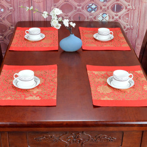 Luxury Floral Geometric Silk Mat Placemats Large Dining Table Mat Rectángulo Chinese style palet tapetes Protector Pad 39x29 cm