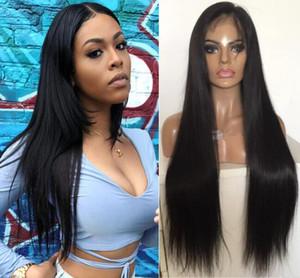 Encaje completo con PU alrededor de pelucas Cabello recto europeo Cabello recto Encaje completo con peluca perimétrica de piel delgada para mujer negra Envío gratis