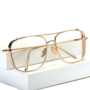 2019 New Flat Mirror Occhiali da sole per donna Gold Frame lunette Metal Cateye Shades Chic Ladies Summer Silver Occhiali da sole