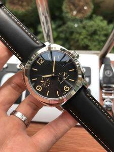 P9001 جودة حركة الرجال الفاخرة ووتش 316l الفولاذ الصلب حالة جلدية حزام ساعة اليد pam GMT احتياطي الطاقة 44 ملليمتر رجل مشاهدة