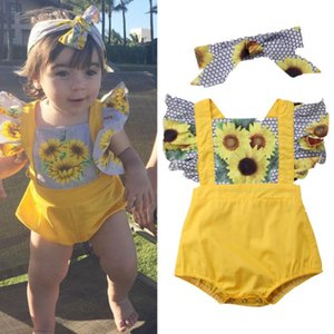 2018 Neugeborenes Baby-Mädchen Sunflower Romper + headbnad zweiteiliges Set Outfits Set Onesies Jumpsuit Hexagon Sunsuit Bodysuit Kinder Kleidung 3-18M