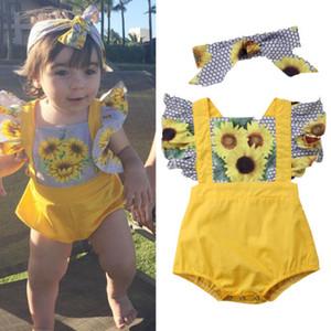 2018 Newborn Baby Girls Sunflower Romper + headbnad conjunto de dos piezas Trajes Set Onesies Jumpsuit Hexagon Sunsuit Body Ropa para niños 3-18M