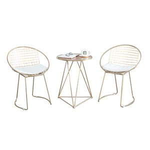 Mode metall stahl freizeit bar stuhl eisendraht stuhl hohlen rücken gold esszimmer kaffee metall bar stühle set teetisch wohnzimmer möbel