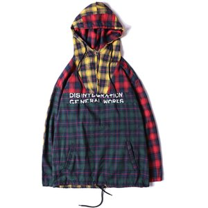 Patchwork Pullover Plaid Long Sleeve Hoodies Shirts Mens Hip Hop Printed Zipper Pocket Casual Shirts Fashion Streetwear