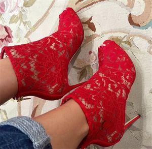 Yeni Moda Kadınlar Peep Toe Dantel Örgü Ince Topuk Kısa Çizmeler kırmızı Siyah Mavi Yeşil Süet Dantel Yüksek Topuk Ayak Bileği Patik Elbise Ayakkabı