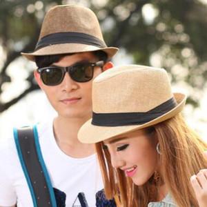 Moda Erkekler Kadınlar Hasır Şapka Yumuşak Fedora Panama Şapkalar Açık Cimri Ağız Kapaklar Caz Şapka Suncreen Kap Caz Hasır Şapka 10 adet