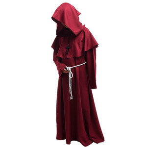 New Unisex Medieval Robe Vintage con cappuccio Cowled Friar Halloween Fancy Cosplay Priest Monk Mantle Dress Costume Black / Brown / Burgundy