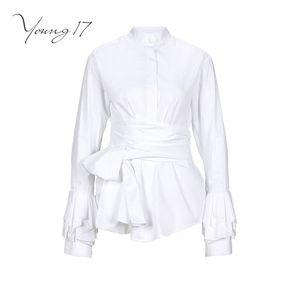 Young17 outono inverno longa camisa branca mulheres blusa plissado lace up borboleta manga carrinho gola cinto envoltório blusas de trabalho de negócios