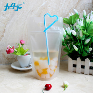 Wholesale 50Pcs Reclosable Plastic Drink Storage Zipper Bag with Hand hole Transparent Frosted Stand up Pouch Beverage bag 450ml