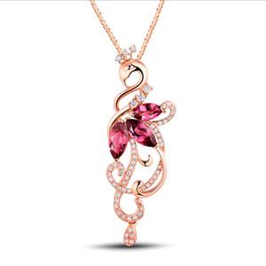 Collier en argent Pendentif en argent japonais femmes et coréennes pendentif en forme de feuille pendentif rubis bijoux en or rose 18 carats