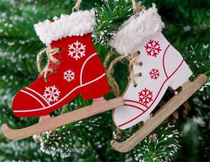 Noël peint décoratif pendentif arbre de noël innovant patins ski chaussures pendentif noël maison porte et arbres décorations