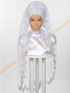 Nupcial De Casamento muçulmano Hijab 2019 com Lantejoulas Pratas de Renda Apliques de Real Fotos Cotovelo Comprimento Véus de Noiva Islâmico Custom Made