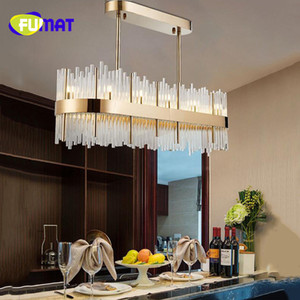 FUMAT 2018 Rectangular Large K9 Crystal Modern Chandelier Lighting for Dining Room Restaurant Bar Post Modern Hanging