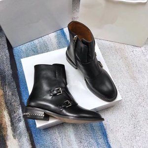 2018 new black genuine leather stretch ankle flat short boots luxury designer fashion vogue celeb choices size 35-40 001