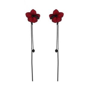 2018 새로운 도착 식물 수지 여성 Hyperbole 드롭 귀걸이 실버 그린 붉은 꽃 귀걸이 패션 쥬얼리