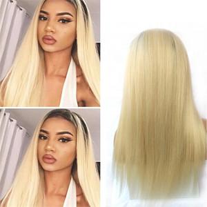 150% Densité du Brésil Ombre Lace Front perruques de cheveux humains pour les femmes noires 1B / 613 Honey Blonde droite Lace Front Wigs avec bébé cheveux