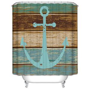 Polyester moisissure imperméable rideau de douche en bois rustique motif nautique ancre rideau de douche avec crochets salle de bain baignoire art décor