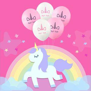 New Fashion Unicorn balloons Happy Birthday Party Decorations Kids Pink White Cartoon Unicorn Balloons Unicorn Party Supplies