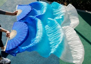 2017 female high quality Chinese silk veils dance fans Pair of belly dancing fans cheap hot sale Blue + sky blue +White