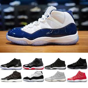 Nike air jordan retro 11 Transporte da gota concord 45 Cap e Vestido 11 Tênis de basquete homens mulheres Prom Night Win Como 96 82 raça gama azul esportes Sneakers