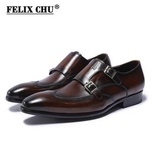 FELIX CHU Klasik Hakiki Deri Çift Tokaları erkek Elbise Ayakkabı Resmi Düğün Ofis Adam Kahverengi Siyah Keşiş Askısı Ayakkabı