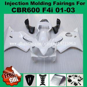 Carenados de moldeo por inyección para HONDA CBR600F4i 01-03 CBR600RR F4i 01 02 03 CBR 600 F4i CBR 600F4i 2001 2002 2003 Kits de carenado Blanco # 827AA