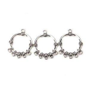 10 pçs / lote Antique Silver Flower Brincos Encantos Pingentes Conectores de Jóias Acessórios Para DIY Handmade Jewelry Making